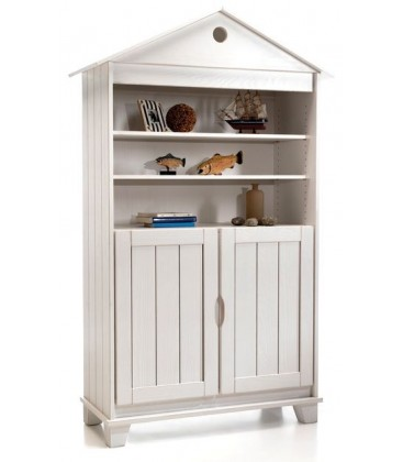 Armoire biblioth que 2 portes niche en pin massif for Armoire en pin 2 portes