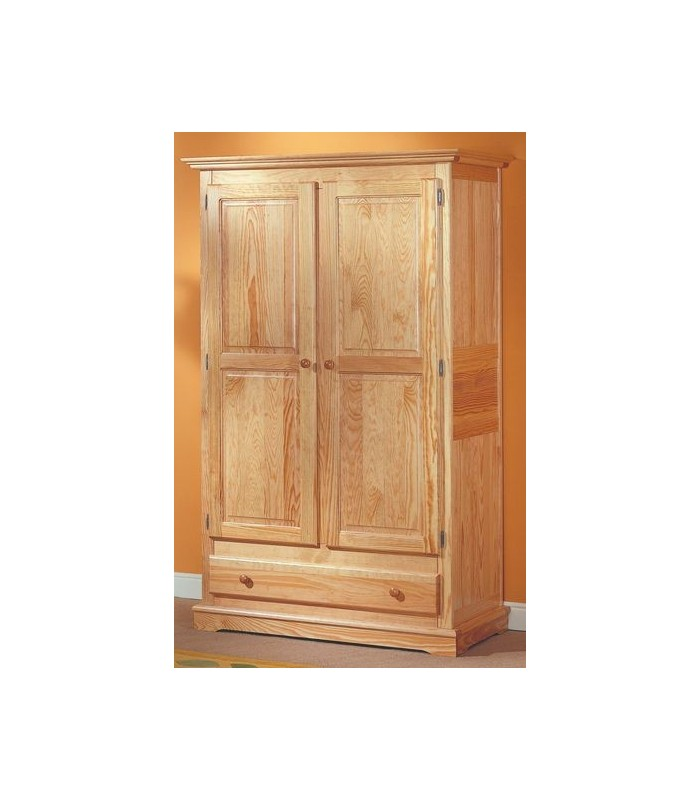 armoire en bois 2 portes 1 tiroir pin massif. Black Bedroom Furniture Sets. Home Design Ideas