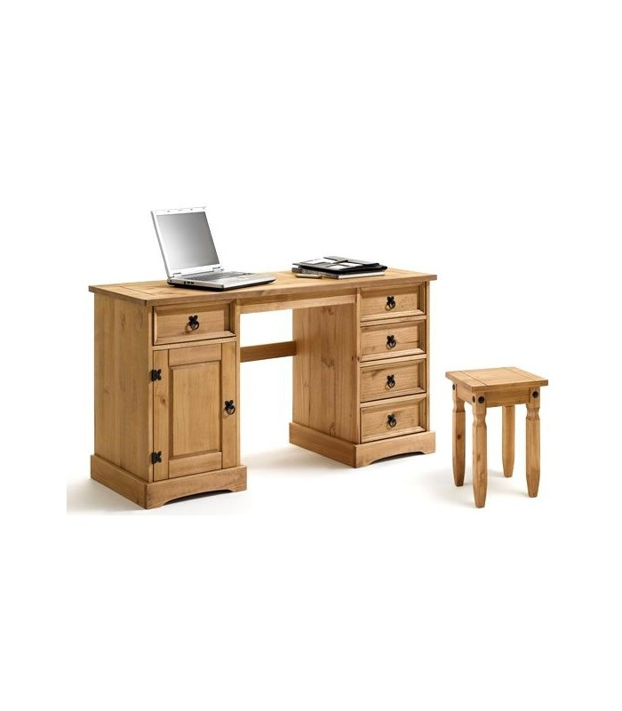 bureau en bois avec tabouret en pin massif style mexicain. Black Bedroom Furniture Sets. Home Design Ideas