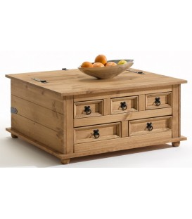 "Table basse coffre + tiroirs en pin ""TEQUILA 3"""