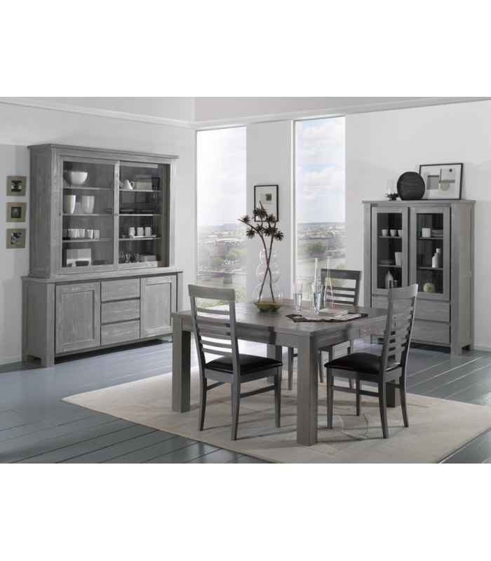 buffet style scandinave gris vaisselier 2 portes. Black Bedroom Furniture Sets. Home Design Ideas