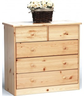 "Commode 3+2 tiroirs en pin ""VENISE"""