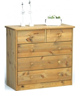 "Commode 3+2 tiroirs en pin ""VENISE M"""