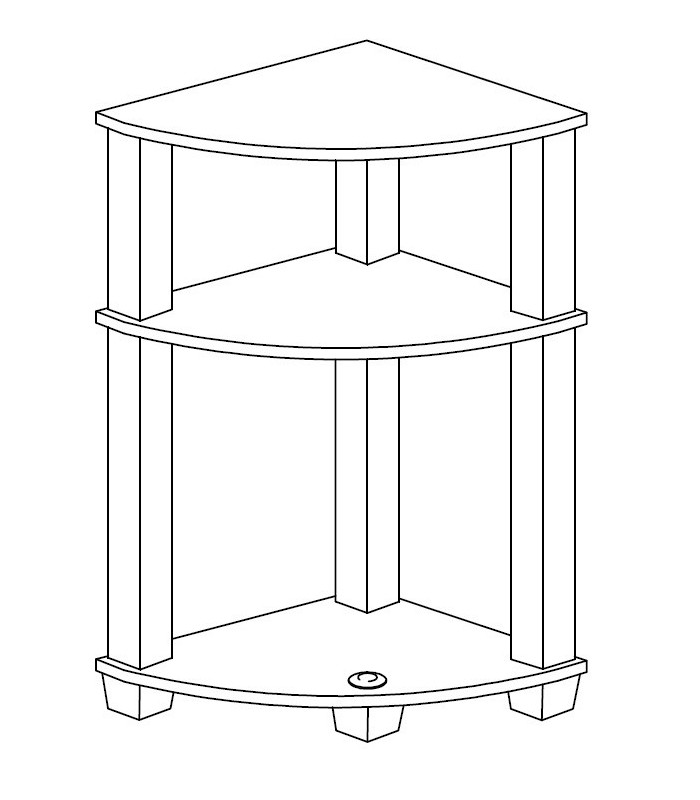 Etagere d 39 angle 3 tablettes - Tablette d angle murale ...