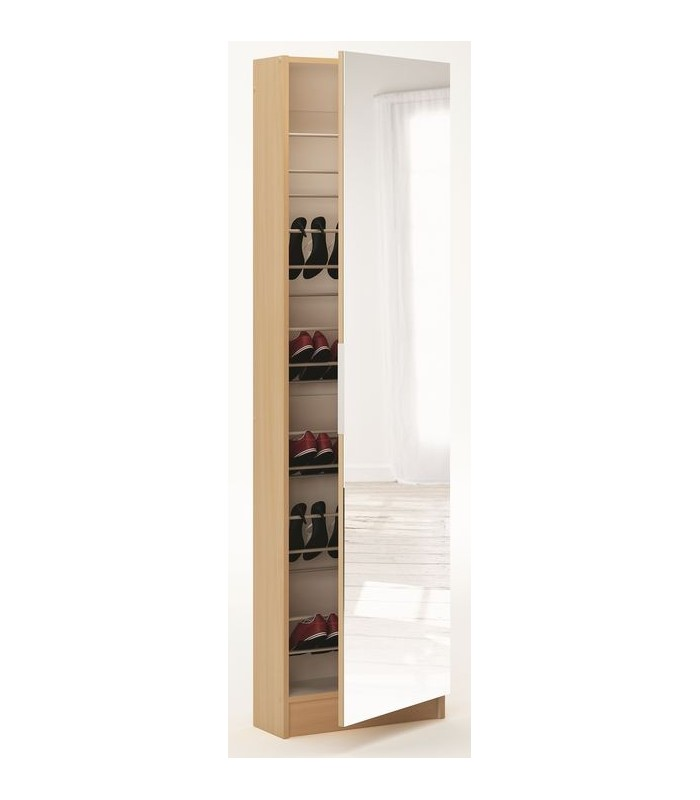 Armoire chaussures avec miroir zapatero mobil 39 in for Armoire chaussure miroir