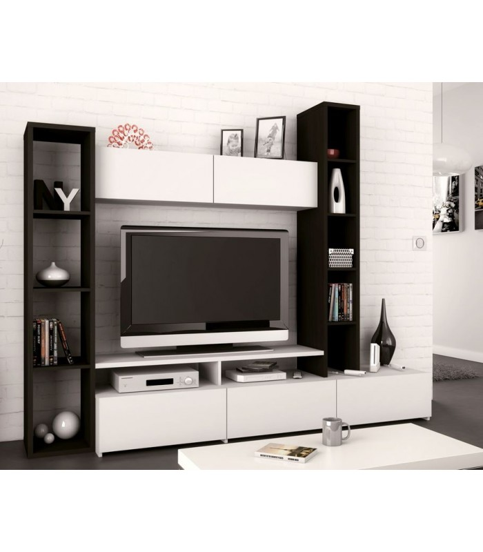 meuble tv style scandinave mur tv noir et blanc. Black Bedroom Furniture Sets. Home Design Ideas