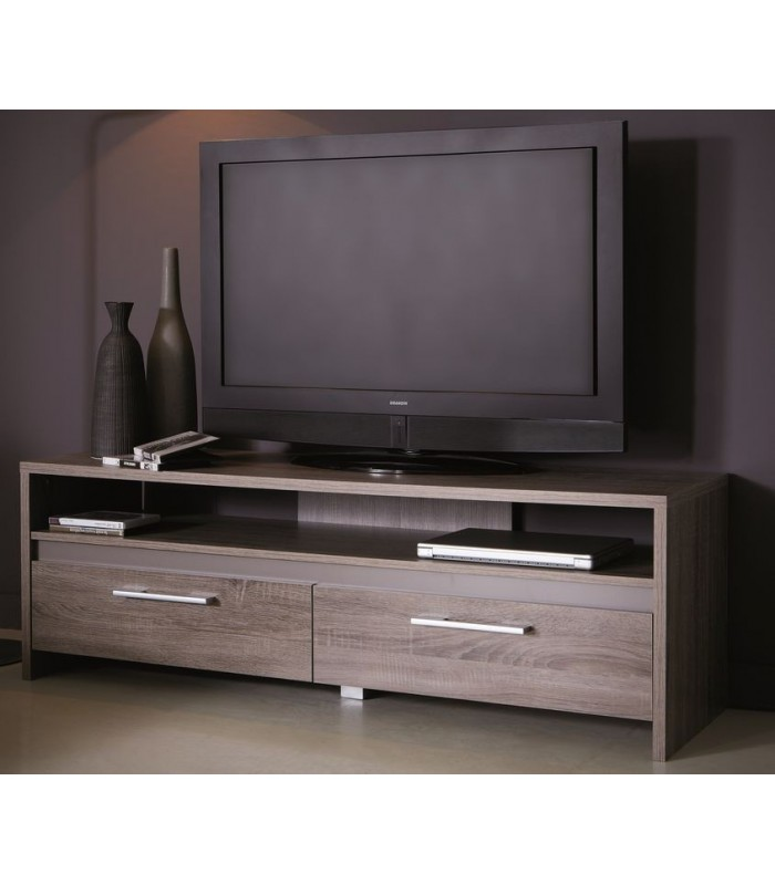 Meuble tv 2 tiroirs 1 niche steen mobil 39 in for Meuble niche