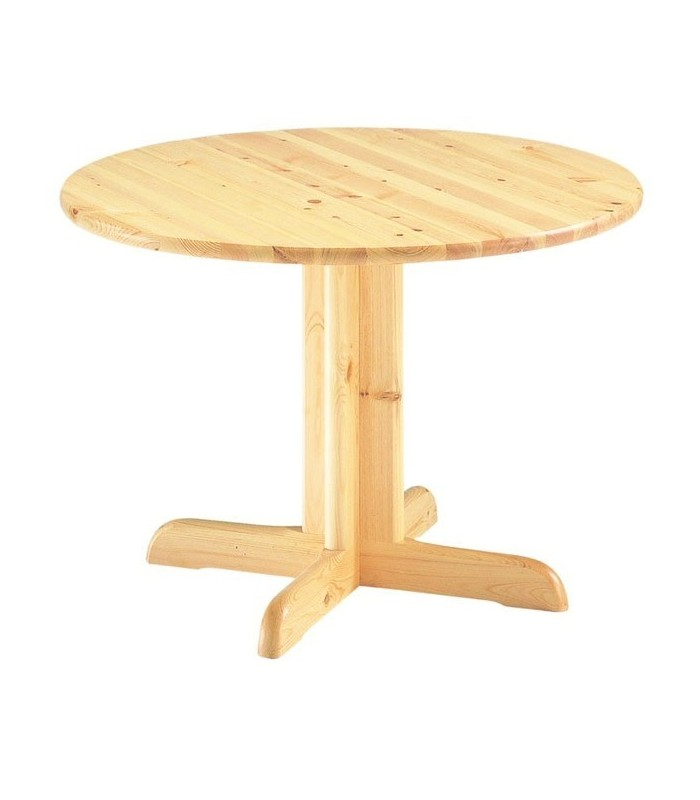 Table Ronde En Pin Massif Scandinave Avec Allonge Vernis